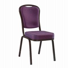 Customized luxury purple velvet fabric aluminium stacking banquet chair cheap