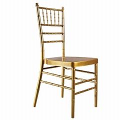 China hotel wedding furniture stackable gold aluminium chiavari chair