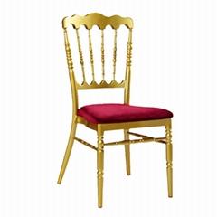 Sale gold wedding aluminium chateau napoleon chair with fixed ve  et cushion