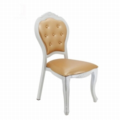 High back french style queen and king royal white wedding baroque chair