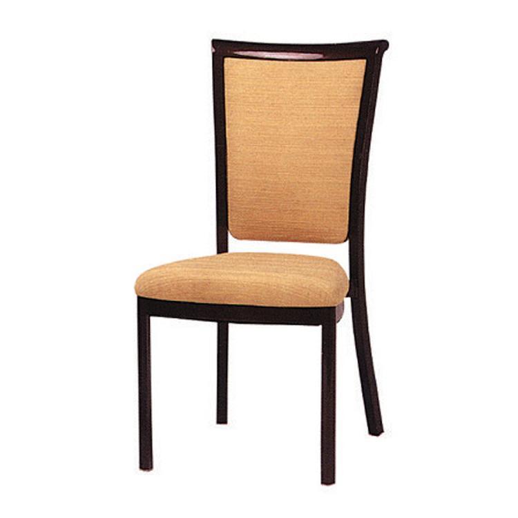 Modern fabric aluminium imitated wood stacking restaurant dining chair