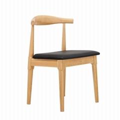 North european leisure Hans Wegner oak solid wood ox elbow cafe restaurant chair