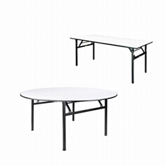 8 people seater folding 18mm plywood wooden top banquet round table for hotel