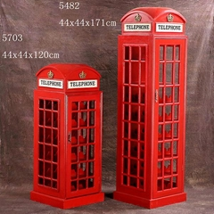 British Telephone Booth Wine Cabinet Retro Style Bar Wine Cabinet