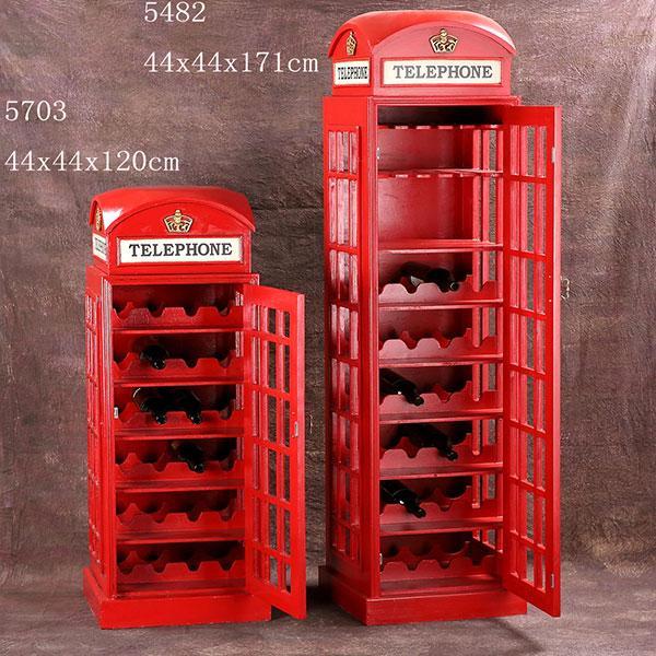 British Telephone Booth Wine Cabinet Retro Style Bar Wine Cabinet 2