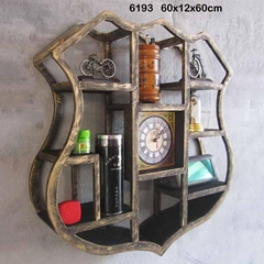 Antique Brushed Shield Shape Wooden Wall Clock With Display Rack Wall Mounted
