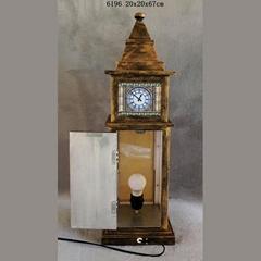 Big Ben Clock Tower Shaped Wooden Light Box With Clock Table Lamp Night Light