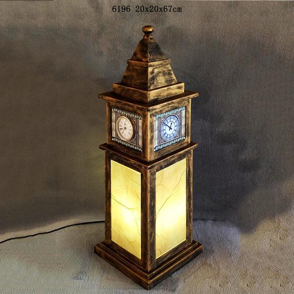 Big Ben Clock Tower Shaped Wooden Light Box With Clock Table Lamp Night Light 2