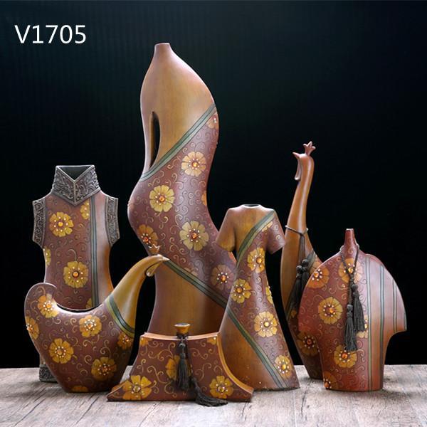 Resin Imitation Wood Tabletop Art Crafts Durable Resin Decortive Vase Set Of 3 3