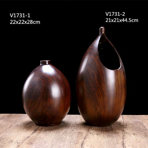 Resin Imitation Wood Tabletop Art Crafts Durable Resin Decortive Vase Set Of 3 4