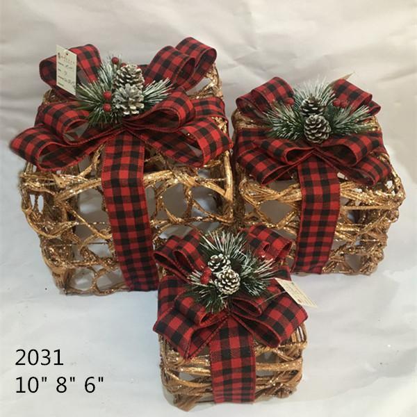 Christmas Layout Ornaments Artficial Glittery Rattan Giftbox Present Box Set 1