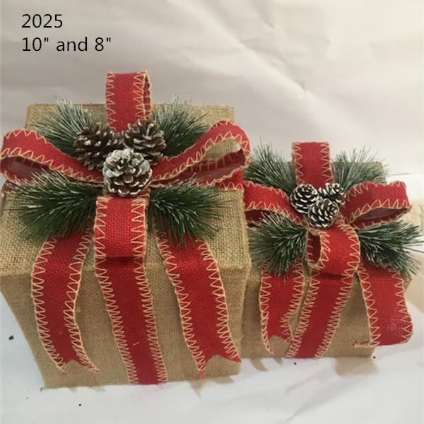 Christmas Layout Ornaments Artficial Glittery Rattan Giftbox Present Box Set 3