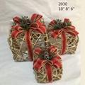 Christmas Layout Ornaments Artficial Glittery Rattan Giftbox Present Box Set 4