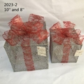 Christmas Layout Ornaments Artficial Glittery Rattan Giftbox Present Box Set 5