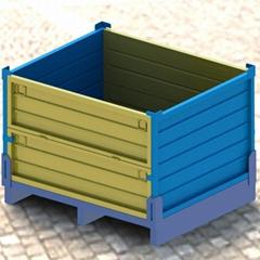川字型围栏托盘箱定制 非标金属托盘 折叠式金属箱 上货架托盘