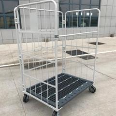 籠車廠家批發標準物流台車可配隔板折疊式工具手推車