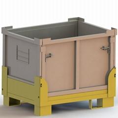 1200x1000x850載重1.5噸堆疊4層可折疊金屬週轉箱 折疊式物料箱