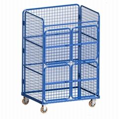 非標四開門網格週轉搬運籠車常規網格物流台車可折疊L籠車