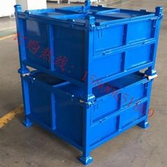 无锡铁箱工厂定制折叠式钢制料箱 杭州堆垛周转箱铁板仓储笼批发