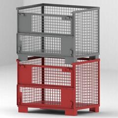 托盤廠家定製無錫蘇州貨架鐵箱 固定金屬箱倉庫籠 圍欄托盤箱批發