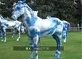 不锈钢奔马雕塑 大型不锈钢动物摆件  2