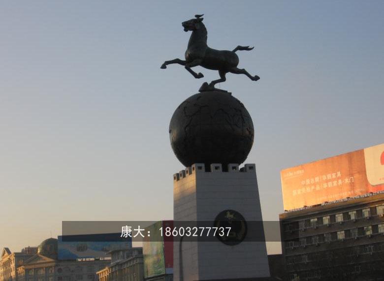 不锈钢奔马雕塑 大型不锈钢动物摆件  4