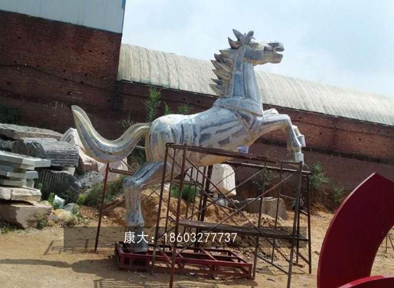 不锈钢奔马雕塑 大型不锈钢动物摆件  1