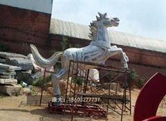 不锈钢奔马雕塑 大型不锈钢动物摆件