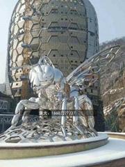 不锈钢蜜蜂雕塑 创意工艺品景观动物摆件