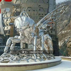 不锈钢小蜜蜂雕塑抽象景观昆虫雕塑