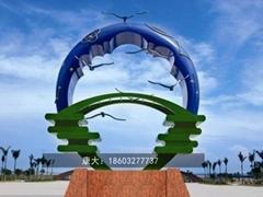 公园动物雕塑不锈钢大雁雕塑