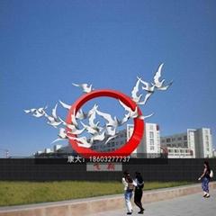 不锈钢鸽子雕塑不锈钢动物手工锻造雕塑