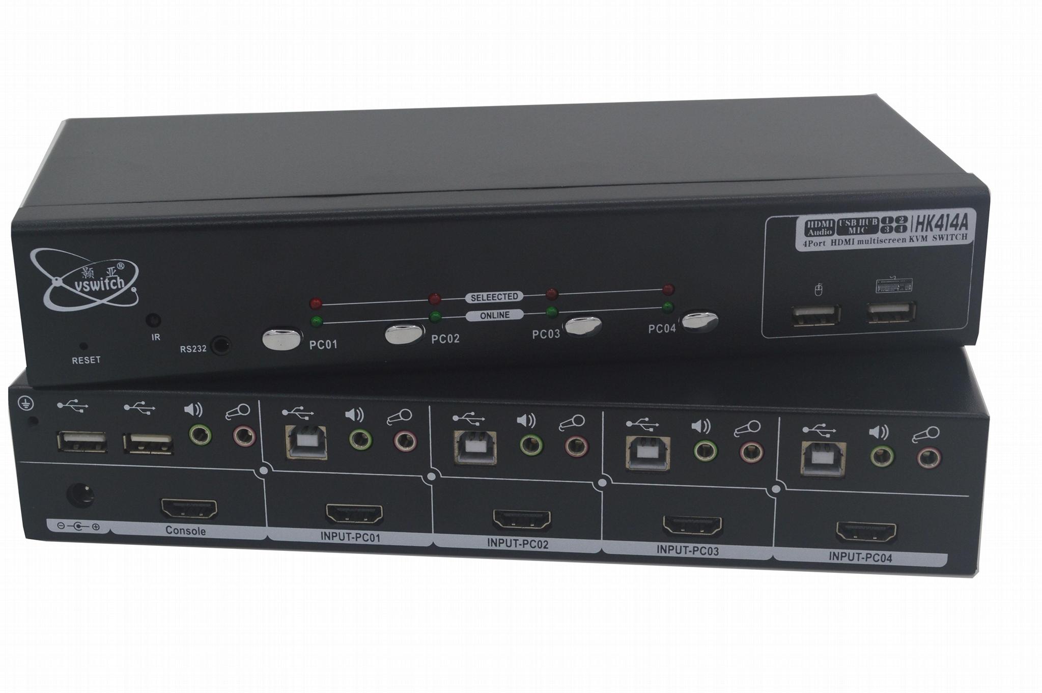 顥亞4口4進1出4畫面HDMI KVM同屏分割切換器 1