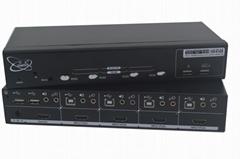颢亚4口4进1出4画面HDMI KVM同屏分割切换器