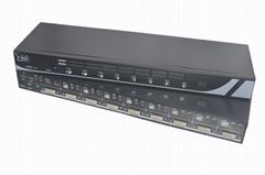 顥亞8進1出8口DVI機架式USB KVM切換器