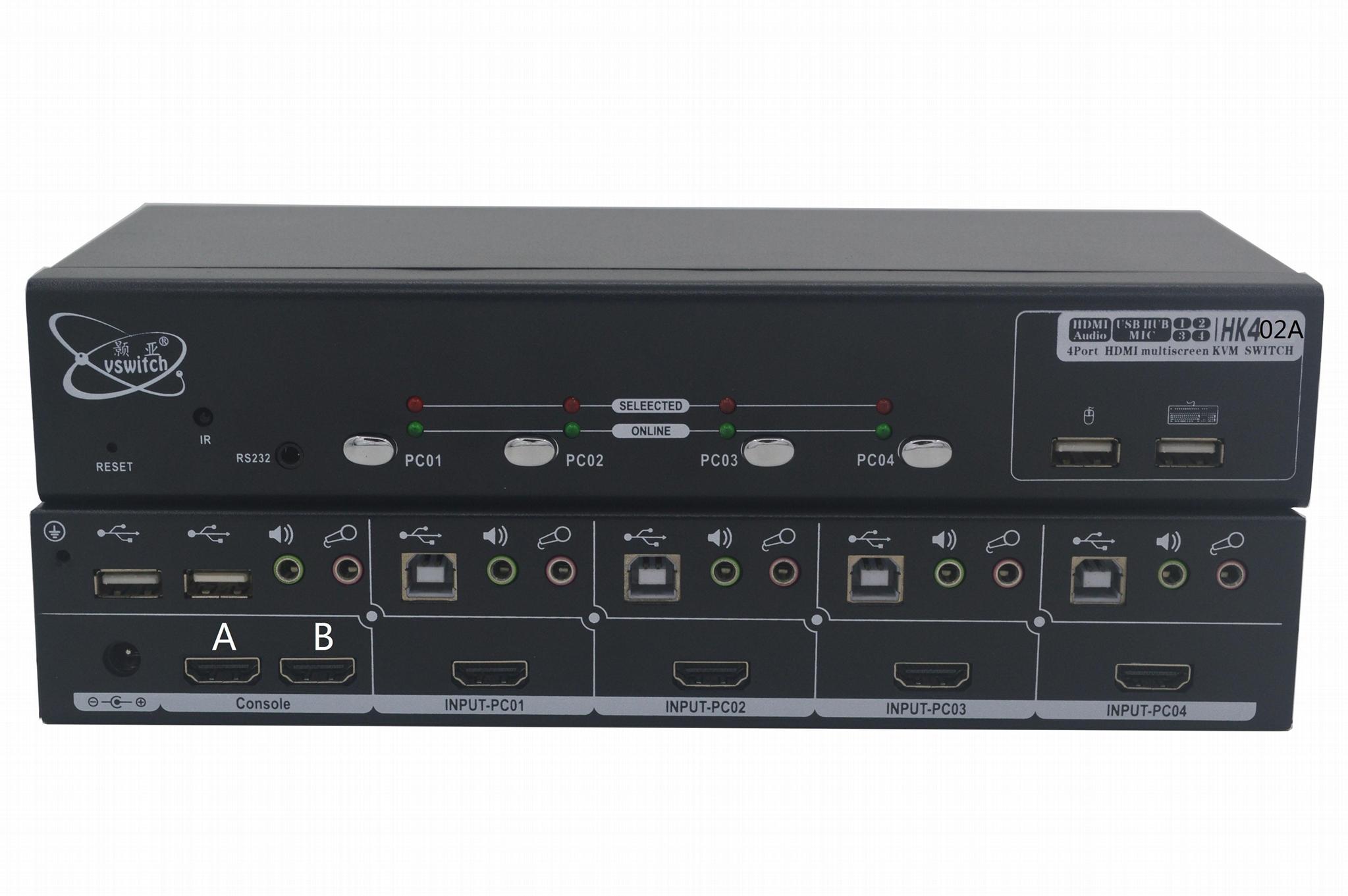顥亞4進2出4口4K HDMI USB2.0 KVM切換器矩陣雙輸出 1