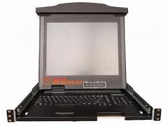 顥亞19寸1口雙滑軌LCD KVM液晶折疊套件
