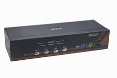颢亚机架式4进1出USB+PS/2双介面4口混接KVM切换器
