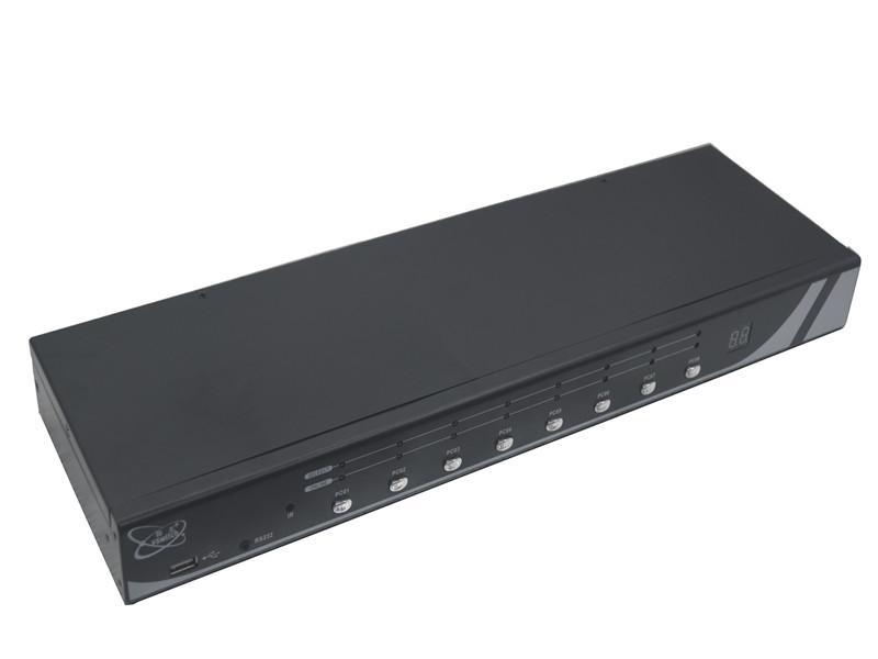 顥亞8進1出機架式USB+PS/2雙介面混接KVM切換器 4