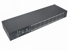 颢亚16进1出USB+PS/2机架式双介面混接KVM切换器