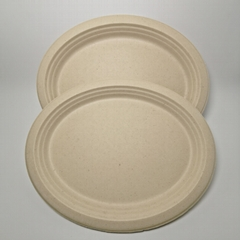 Sugarcane tableware big Oval Plate Disposable bagasse Oval Plate