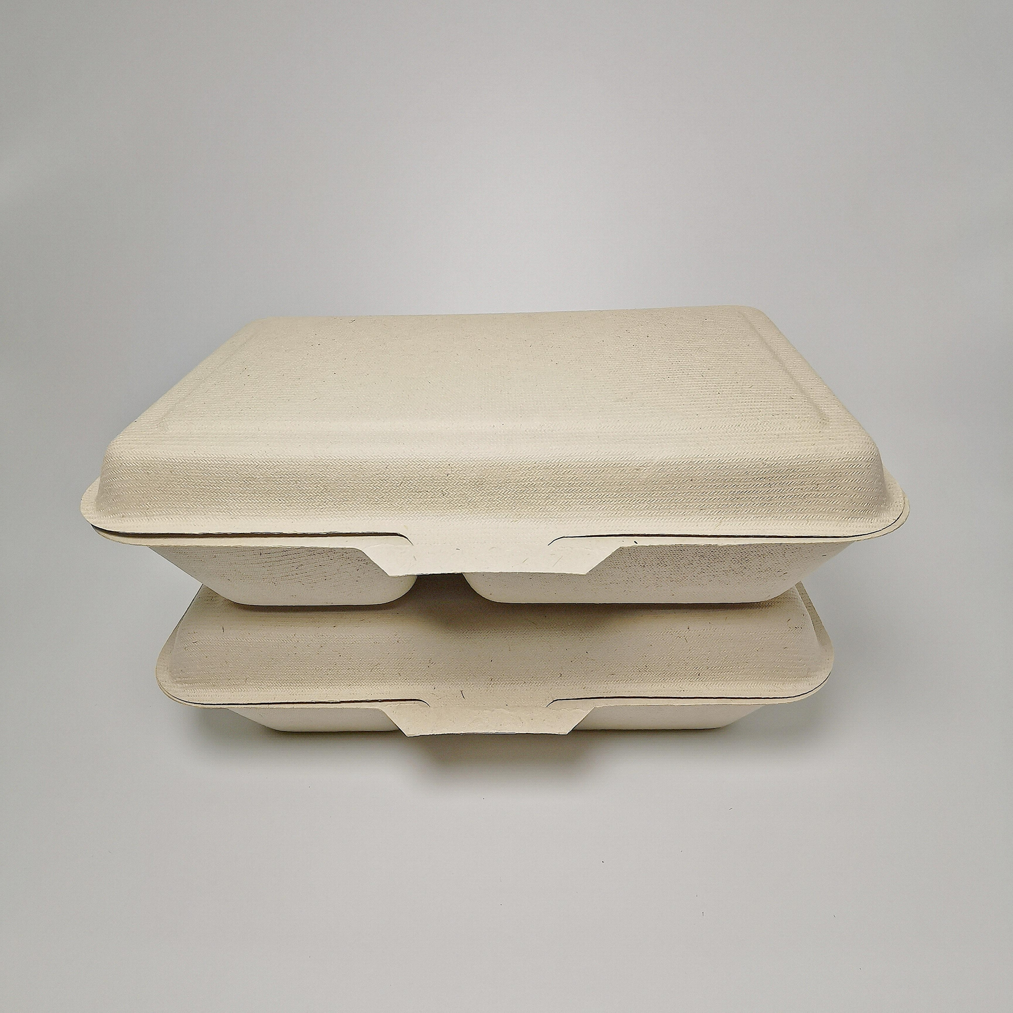 1000ML 2 compartment Eco food packaging biodegradable clamshell box 4