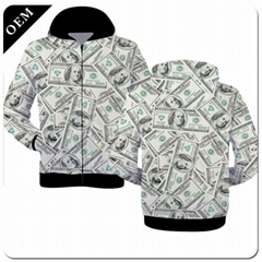 Custom Mens 3D Printed Pullover Hoodies All Over Printing Polyester Hooded Sweat