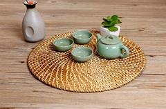 Vietnam Woven Rattan Grass Mat Wicker Natural Placemat Ultensil Serving