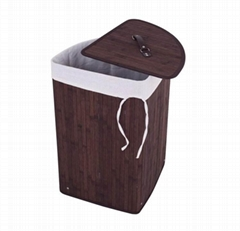 Wood Color Home Storage Wicker Bamboo Basket Hamper Dirty Cloth Washing