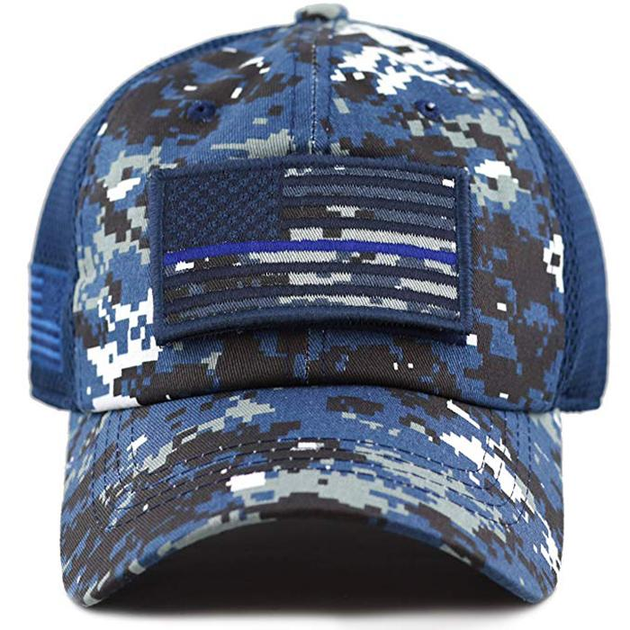 100% Cotton Military Hat Custom Embroidery Logo Blue Camo Hat USA Flag Patch Buc 3