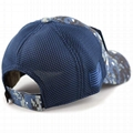 100% Cotton Military Hat Custom Embroidery Logo Blue Camo Hat USA Flag Patch Buc 4
