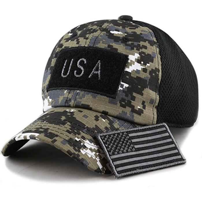 100% Cotton Military Hat Custom Embroidery Logo Blue Camo Hat USA Flag Patch Buc 6