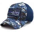 100% Cotton Military Hat Custom Embroidery Logo Blue Camo Hat USA Flag Patch Buc