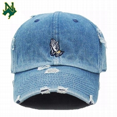 Promotional Price Denim Baseball Cap Custom Embroidery Logo Distressed Dad Hats